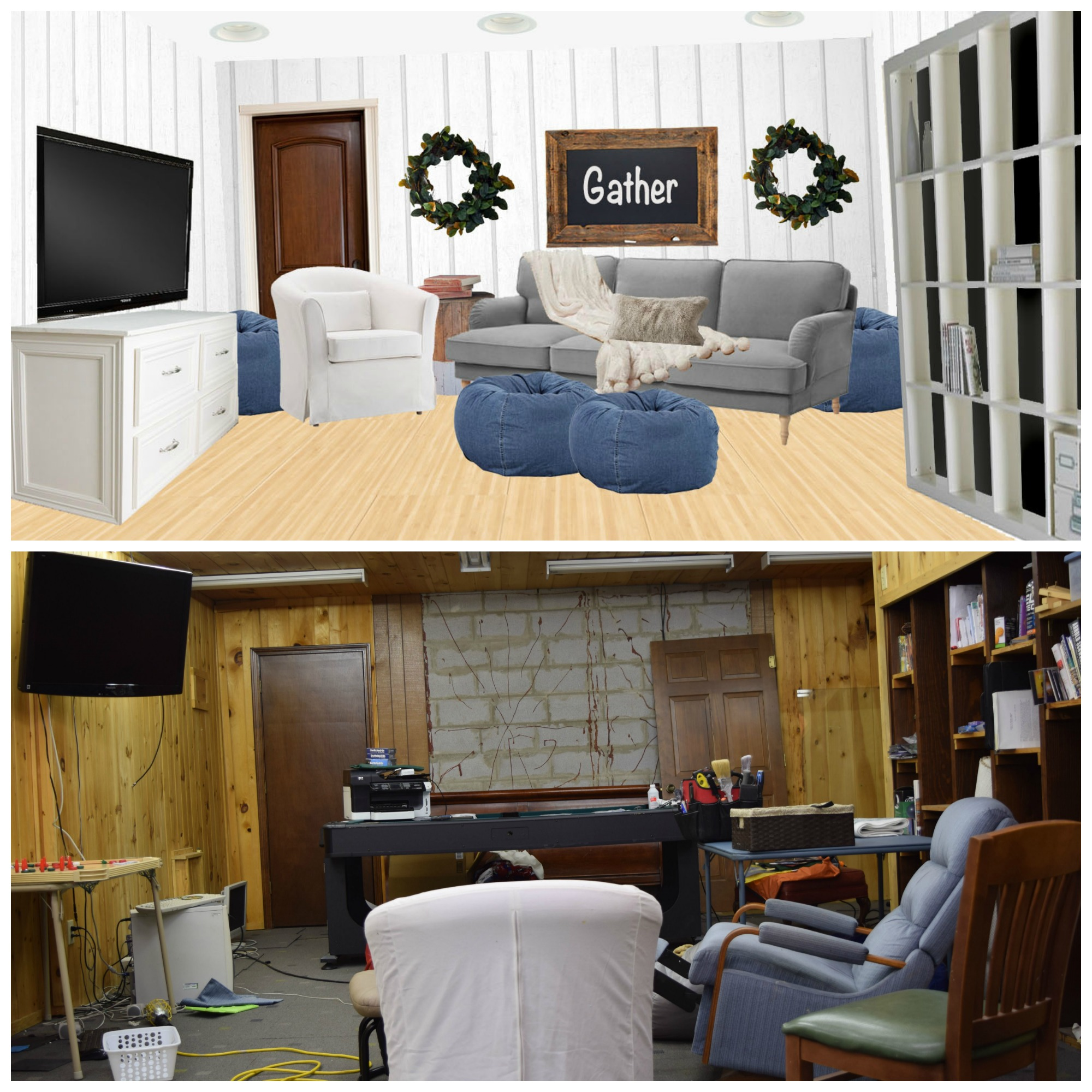 Basement family room before and after