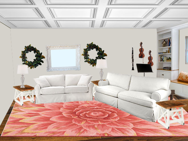 Living Room Rug View terracotta flower