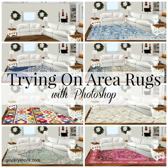 Trying on area rugs with photoshop