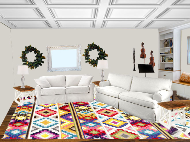 terrific colorful living room rug | Trying on Area Rugs with Photoshop – Grocery Shrink